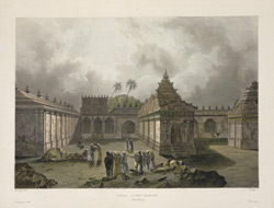 'Cours d'une Pagode'. Coloured aquatint by Himely after Lauvergne. Probably published in Paris, c.1830